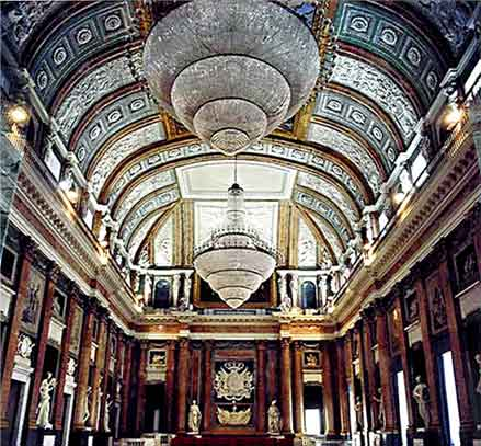 The great Hall of Maggior Consiglio of the Ducal Palace of Genoa